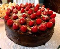 Chocolate cake with raspberry jam