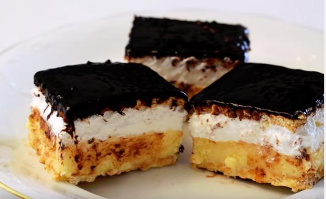 Vaníliás-habos kekszes szelet - sütés nélkül
