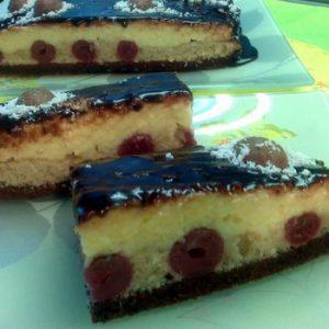 Kókuszkrémes meggyes-csokis sütemény