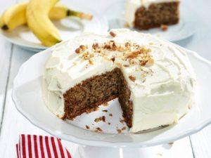 Banános-diós torta krémsajtos mázzal