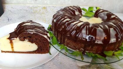 Vulkán torta,főtt vaníliakrémmel
