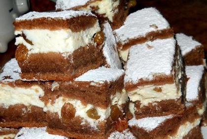 Kavart tésztából csokis túrós finomság